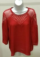 Hagel Women's Red Solid 3/4 Sleeve w/Lace Top Blouse Size: M