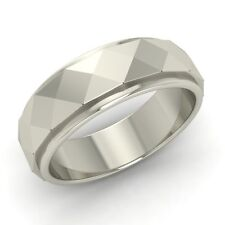 Men's Ring / Band With Hammered Finish In Solid 14k White Gold-6.5 mm band