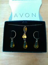 Avon Vibrant Glow Drop Necklace & Earrings Gift Set, Yellow. new