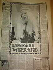 ROY WOOD 'pinball wizard' 1973  UK ARTICLE / clipping