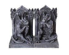 Gothic Thinker Gargoyle Sculpture Stone Finish Book Ends Set 6.75 Inches Tall