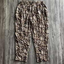 Bobeau women's large pull-on leopard rayon cuffed hem harem pants