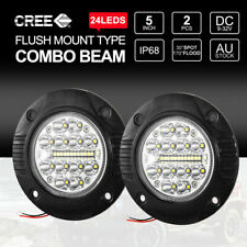 Pair 5 inch CREE Flush Mount LED Lights 12V 24V Reverse Work 24000LM Combo Beam