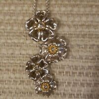 BRIGHTON LUX GARDEN Silver Gold LONG NECKLACE TAGS & DUST BAG  $88