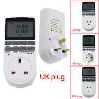 Digital Electronic Plug-in Programmable 12/24 Hour Timer Switch Socket US/UK/EU