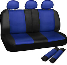 Car Seat Cover Blue Black 8pc Set Bench for Auto w/Belt Pads Synthetic Leather