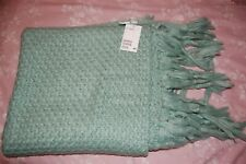 """New Tags H&M Sage Green Basket Weave Knitted Textured Throw Long Tassles 64x46"""""""