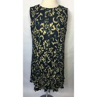 All That Jazz Vintage Blue and Cream Printed Sleeveless Dress - Size Small