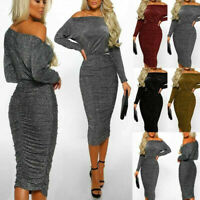 Women's Sparkly Long Sleeve Off Shoulder Evening Party Club Ruched Bodycon Dress