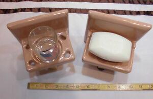 Vintage Ceramic…Milk Chocolate Color…Sink Set…Soap dish & Cup holder...NOS