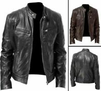 Men's Vintage Cafe Racer Black/Brown Genuine Real Leather Slim Fit Biker Jacket
