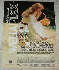 1977 advertising - Wella WellaFlex hair - pretty girl picking flowers PRINT AD