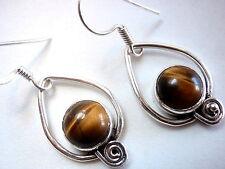 Tiger Eye Dangle Earrings 925 Sterling Silver Corona Sun Jewelry