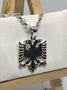925 Genuine Sterling Silver Men Women Albanian Eagle Design Pendant Tag Charm