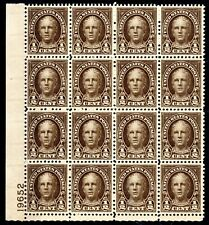 653 Nathan Hale Rotary Press 1929 Plate Block of 16 MNH- XF-S