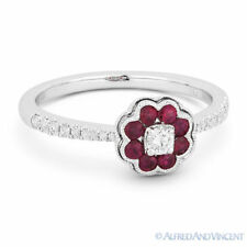Pave 18k White Gold Right-Hand Flower Ring 0.46 ct Round Cut Red Ruby & Diamond