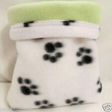 Small pet Hamster Gerbil Hedgehog snuggle sack/sleep bag 6.5x9 green paws 162