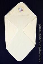 Baby Poncho Kapuzen Handtuch Badetuch Babyponcho Babyhandtuch HASE gelb 75x75cm