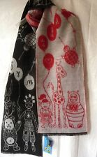 240x30 écharpe Wool Scarf Dolls Walter Van Beirendonck vintage w&lt red-black-grey
