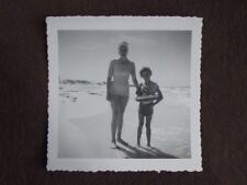 Mother In Swim Suit & Daughter With Horse Floatie Around Waist Vtg 1950's Photo