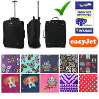 """Lightweight Small 21"""" Wheeled Hand Luggage Trolley Cabin Flight Zip Bag Suitcase"""