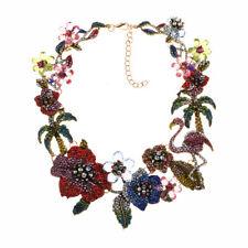 Collier Doré Court Flamant Floral Palmier Multicolore Rouge Vert Bleu JX1