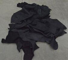 Leather Scrap cow hide 1 pound 3-4 ounces Black color nubuck