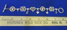 Religious Bracelet Silvertone Cross Heart Fish Toggle Loop Closure Jewelry