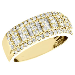 14K Yellow Gold Round & Baguette Diamond Wedding Band 8.50mm Statement Ring 1 CT