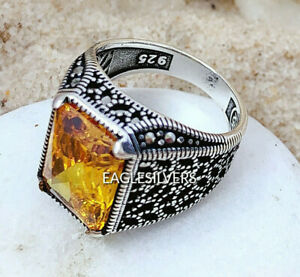Handmade Solid 925 sterling silver Yellow Zircon stone Men's Woman's Ring