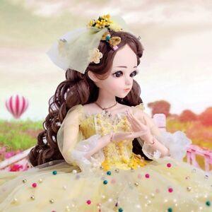 60cm FULL SET BJD 1/3 60cm Handmade Silicone Girl Dolls Toys Eyes Make Up Gift