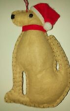 YELLOW golden LABRADOR retriever DOG SANTA HAT FELT CHRISTMAS TREE DECORATION