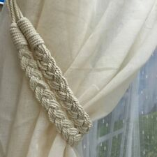 2PC Curtain Tieback Handmade Holdbacks Braided Rope Drapes Holder Home Tie-Backs