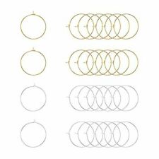 PandaHall Elite 100 piezas Oro / Plata 25mm Latón Pendientes de aro redondo Aro