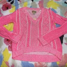 Mudd Womens Ribbed Pink Knit V-Neck Sweater Size XS Long Sleeves High Low Nwt