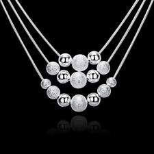 """925 Sterling Silver 3 Layers Bead Ball 18"""" Snake Chain Womens Necklace #NE100"""