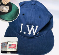 Vtg Ebbets Field Flannels Iowa Mens Blue Baseball Cap Hat Silky Green Under Peak