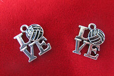 "5pc ""Volleyball"" charms in antique silver style (BC423)"