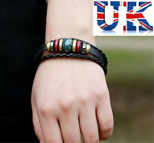 Mens Womens Unisex Black Leather Surf Bracelet With Beads **UK Seller**