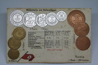 TUNISIA c. 1900 COLOURED PC WITH COINS PICTURE UNIQUE & VERY RARE A75 CVER27