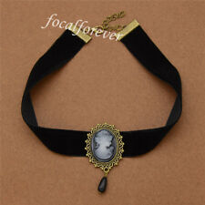 Retro Gothic Victoria Head Black Chocker Necklace Ribbon Jewelry Charm Statement