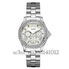 AUTHENTIC GUESS LADIES' SHIMMER WATCH SILVER TONE RRP:$449 U0632L1 Brand New