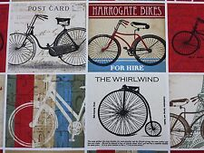 Ashley Wilde Cyclist Vintage Bicycle Postcard Curtain Craft Upholstery Fabric