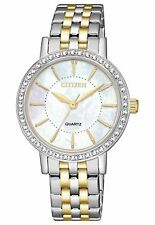 New Citizen EL3044-89D Ladies Dress MOP Crystal Two Tone Stainless Steel Watch