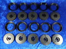 10 Stück 15 Meter Super 8 Filmspulen, schwarz/schwarz. Mit Gebrauchsspuren.