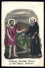 santino incisione 1800 S.GIOVANNI BATTISTA E B.IVANO DI BOEMIA dip. a mano