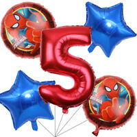 Spiderman Balloons Bouquet 5th Birthday 5pcs - Party Supplies Decoration