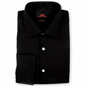 Steven Land Men's Trim-Fit French Cuff Tonal Twill Print Cotton Dress Shirt –...