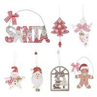 Gorgeous Wooden Hanging Christmas Xmas Tree Decorations Santa Snowman Reindeer