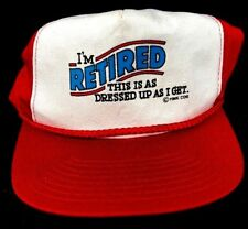 "Vintage 1980-90's ""I'm Retired"" Trucker Flat Bill Red Snap Back Cap Hat (C1)"